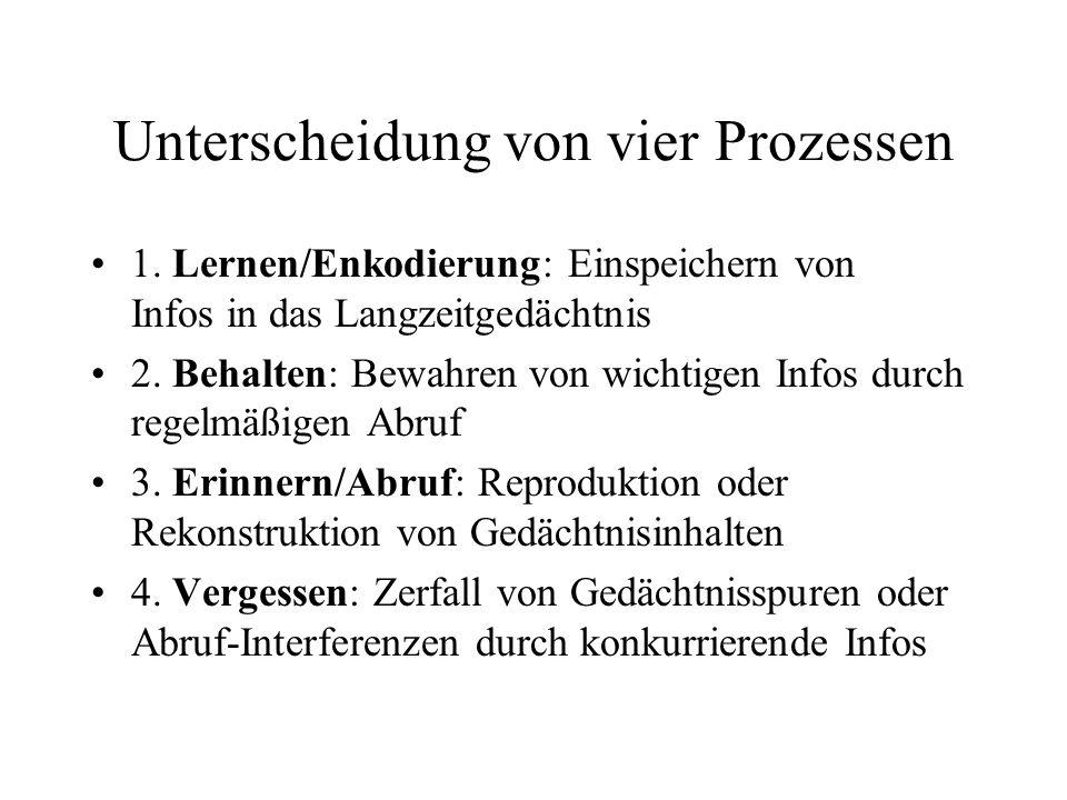Unterscheidung von vier Prozessen 1.