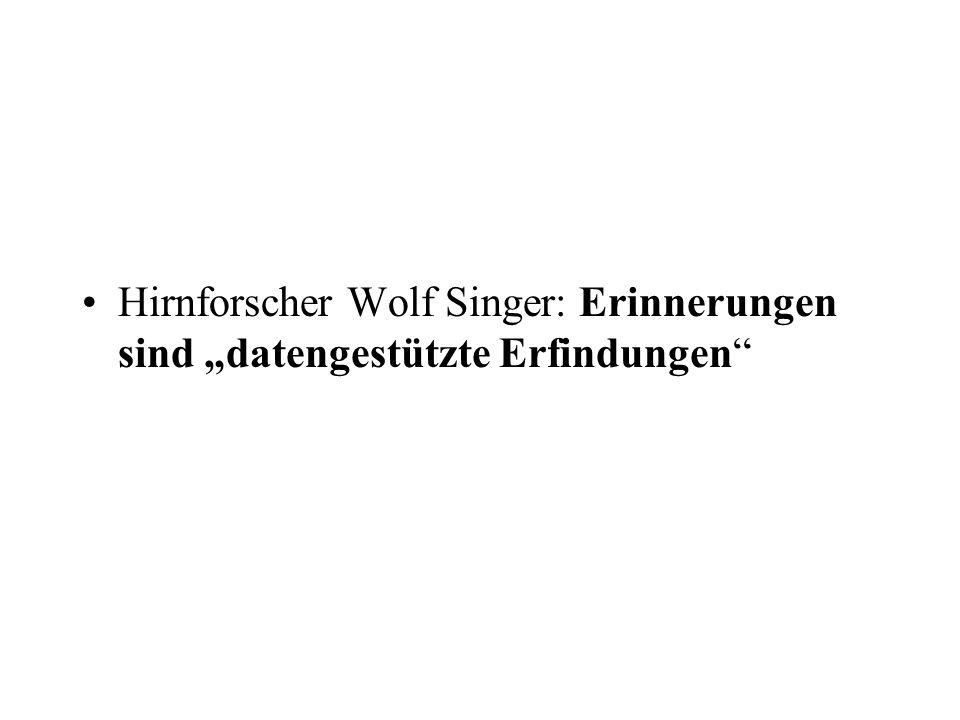 """Hirnforscher Wolf Singer: Erinnerungen sind """"datengestützte Erfindungen"""