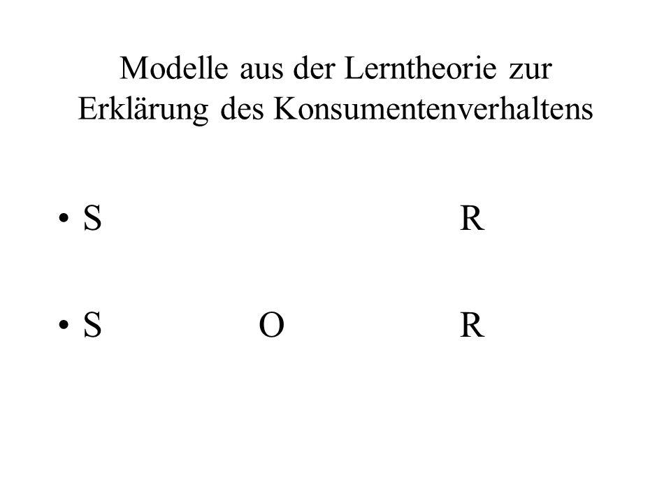 Modelle aus der Lerntheorie zur Erklärung des Konsumentenverhaltens S R S OR