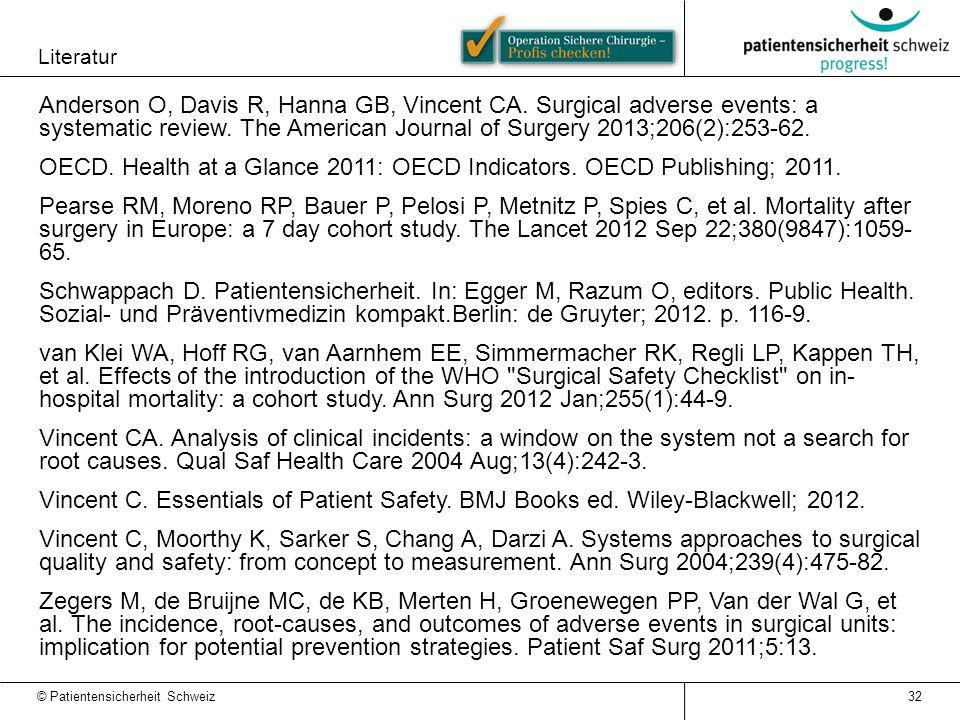 Literatur 32 © Patientensicherheit Schweiz Anderson O, Davis R, Hanna GB, Vincent CA.