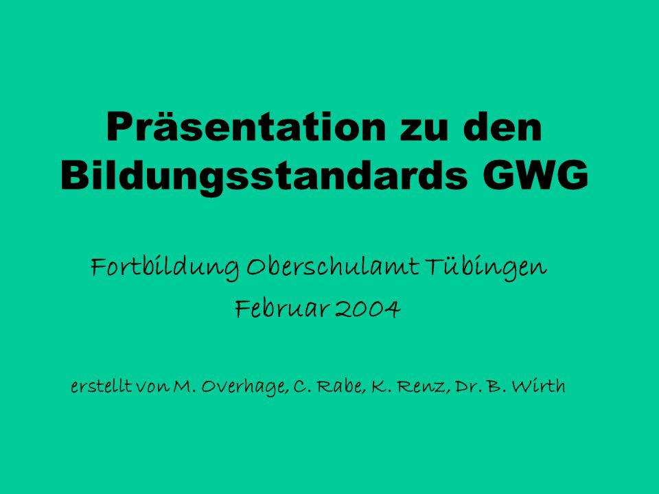 Präsentation zu den Bildungsstandards GWG Fortbildung Oberschulamt Tübingen Februar 2004 erstellt von M.