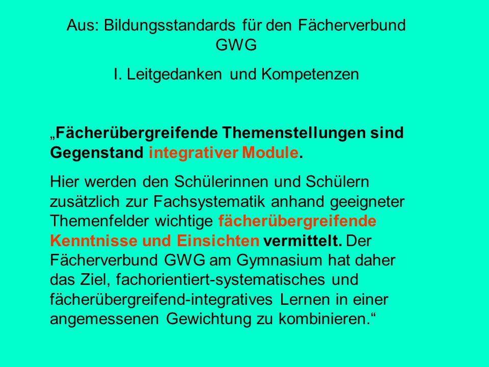 Aus: Bildungsstandards für den Fächerverbund GWG I.