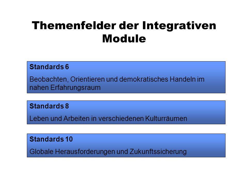 Themenfelder der Integrativen Module Standards 6 Beobachten, Orientieren und demokratisches Handeln im nahen Erfahrungsraum Standards 8 Leben und Arbeiten in verschiedenen Kulturräumen Standards 10 Globale Herausforderungen und Zukunftssicherung