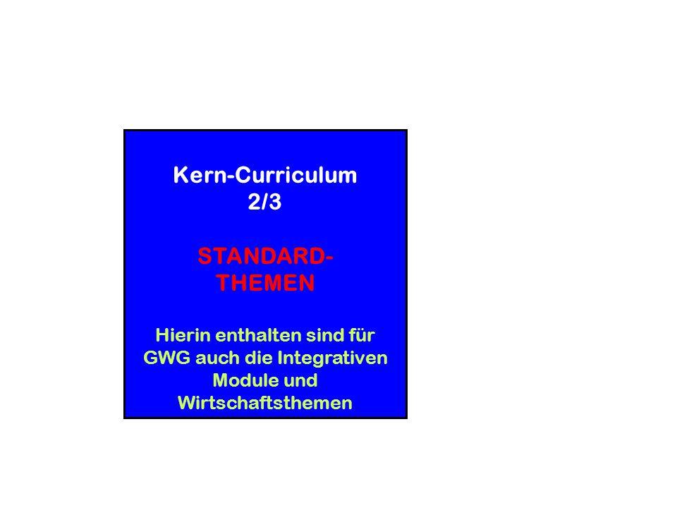 Kern-Curriculum 2/3 STANDARD- THEMEN Hierin enthalten sind für GWG auch die Integrativen Module und Wirtschaftsthemen Kerncurriculum allein