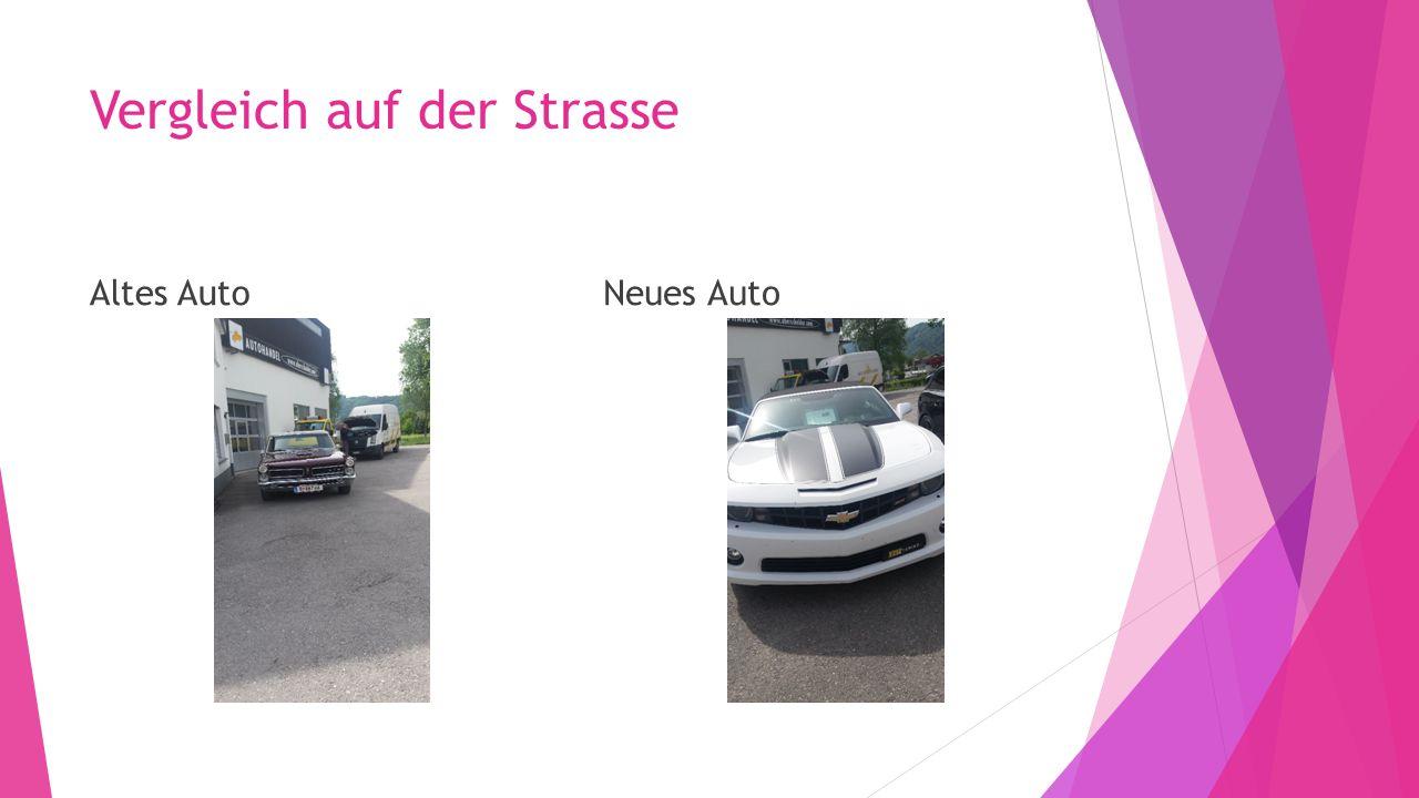 Vergleich auf der Strasse Altes AutoNeues Auto