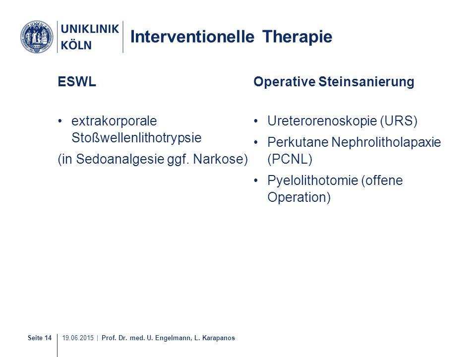 Seite 14 19.06.2015 | Prof. Dr. med. U. Engelmann, L. Karapanos ESWL extrakorporale Stoßwellenlithotrypsie (in Sedoanalgesie ggf. Narkose) Operative S