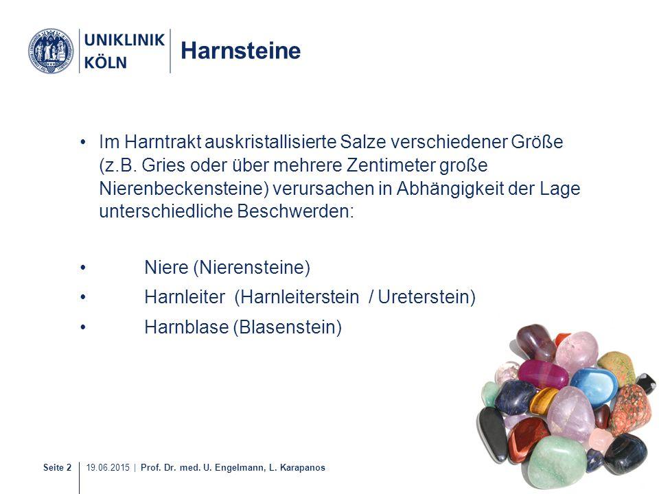 Seite 2 19.06.2015 | Prof. Dr. med. U. Engelmann, L. Karapanos Harnsteine Im Harntrakt auskristallisierte Salze verschiedener Größe (z.B. Gries oder ü