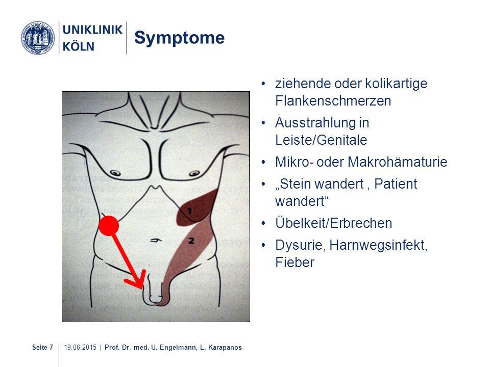 Seite 7 19.06.2015 | Prof. Dr. med. U. Engelmann, L. Karapanos Symptome ziehende oder kolikartige Flankenschmerzen Ausstrahlung in Leiste/Genitale Mik