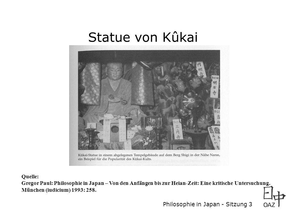 Philosophie in Japan - Sitzung 3 Statue von Kûkai Quelle: Gregor Paul: Philosophie in Japan – Von den Anfängen bis zur Heian-Zeit: Eine kritische Untersuchung.