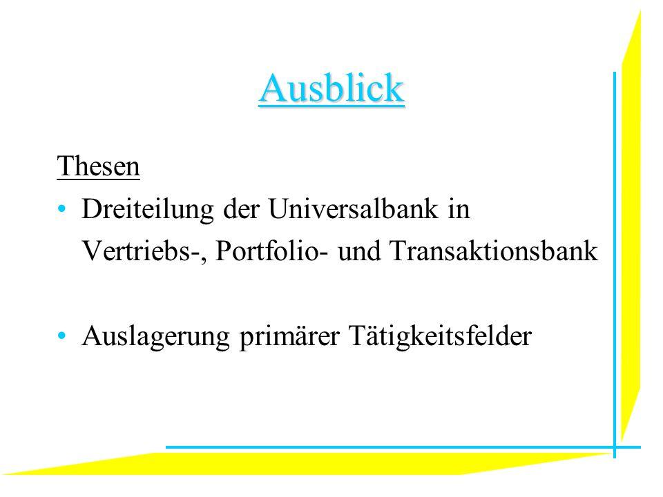 Ausblick Thesen Dreiteilung der Universalbank in Vertriebs-, Portfolio- und Transaktionsbank Auslagerung primärer Tätigkeitsfelder