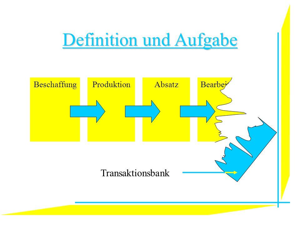 Definition und Aufgabe BeschaffungProduktionBearbeitungAbsatz Transaktionsbank