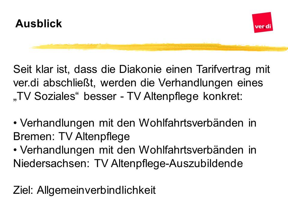 """Seit klar ist, dass die Diakonie einen Tarifvertrag mit ver.di abschließt, werden die Verhandlungen eines """"TV Soziales"""" besser - TV Altenpflege konkre"""