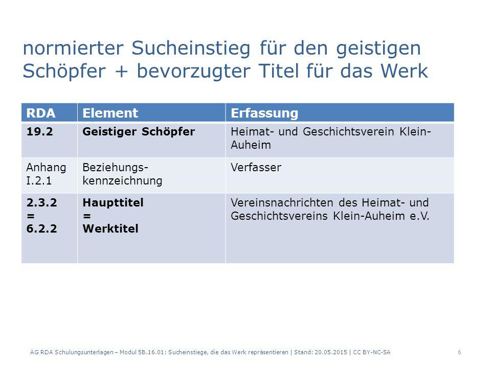 normierter Sucheinstieg für den geistigen Schöpfer + bevorzugter Titel für das Werk AG RDA Schulungsunterlagen – Modul 5B.16.01: Sucheinstiege, die das Werk repräsentieren | Stand: 20.05.2015 | CC BY-NC-SA6 RDAElementErfassung 19.2Geistiger SchöpferHeimat- und Geschichtsverein Klein- Auheim Anhang I.2.1 Beziehungs- kennzeichnung Verfasser 2.3.2 = 6.2.2 Haupttitel = Werktitel Vereinsnachrichten des Heimat- und Geschichtsvereins Klein-Auheim e.V.