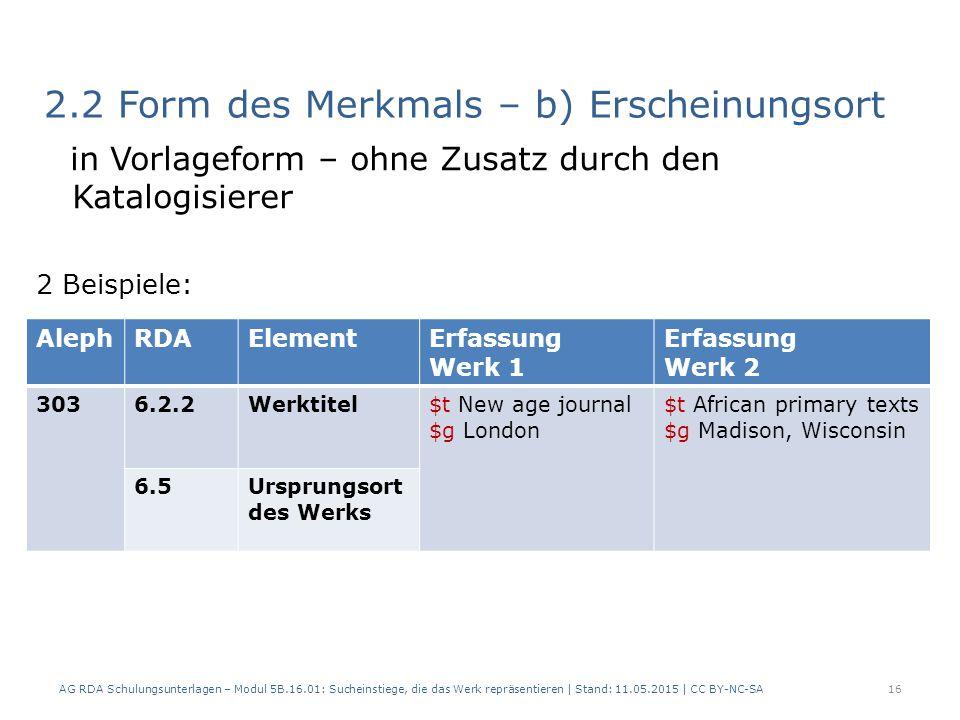 2.2 Form des Merkmals – b) Erscheinungsort in Vorlageform – ohne Zusatz durch den Katalogisierer 2 Beispiele: AG RDA Schulungsunterlagen – Modul 5B.16