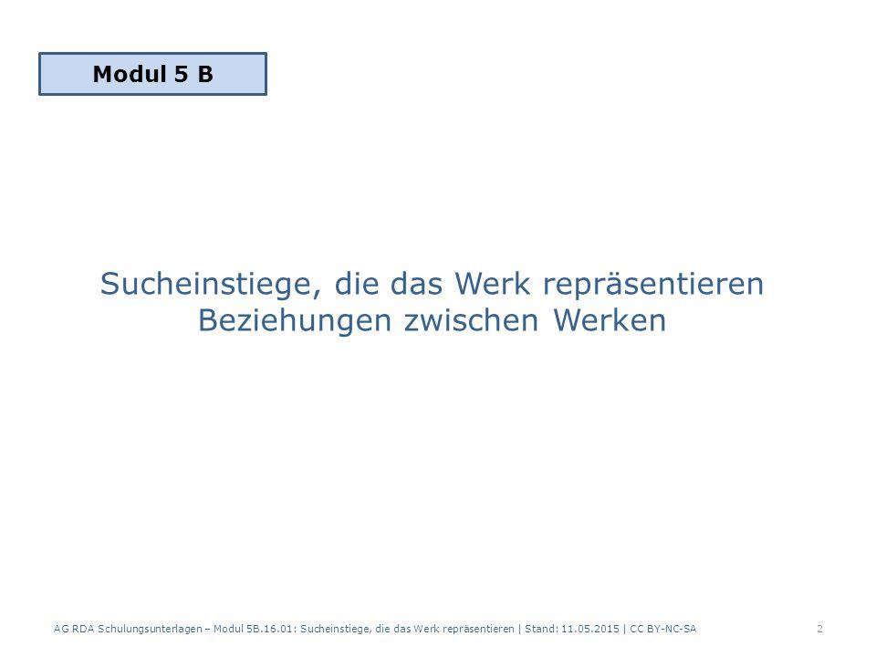 Sucheinstiege, die das Werk repräsentieren Beziehungen zwischen Werken AG RDA Schulungsunterlagen – Modul 5B.16.01: Sucheinstiege, die das Werk repräsentieren | Stand: 11.05.2015 | CC BY-NC-SA2 Modul 5 B