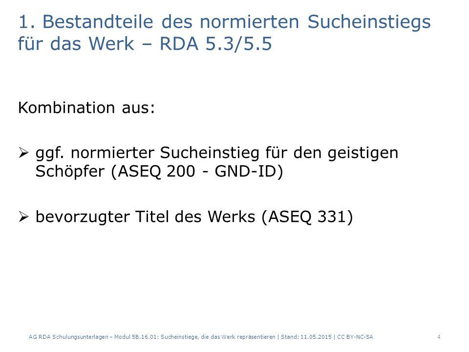 1. Bestandteile des normierten Sucheinstiegs für das Werk – RDA 5.3/5.5 Kombination aus:  ggf. normierter Sucheinstieg für den geistigen Schöpfer (AS