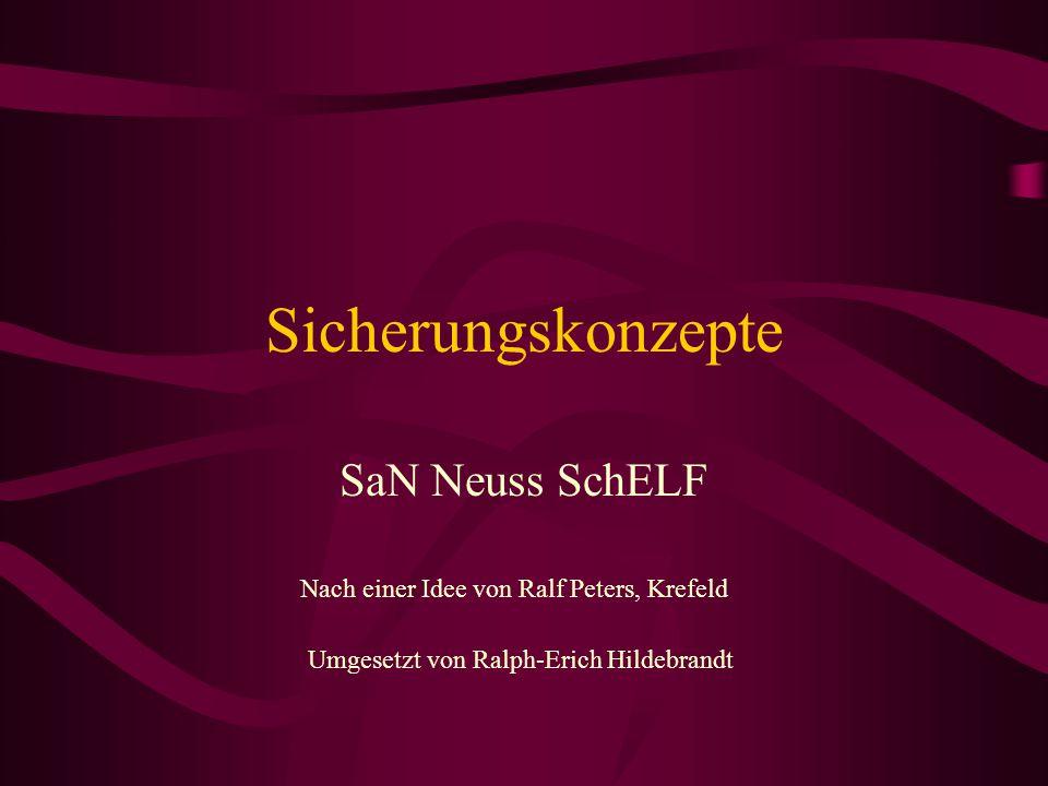 Sicherungskonzepte SaN Neuss SchELF Nach einer Idee von Ralf Peters, Krefeld Umgesetzt von Ralph-Erich Hildebrandt