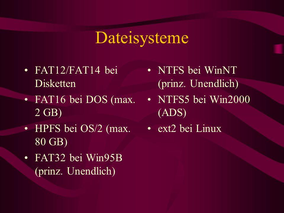 Dateisysteme FAT12/FAT14 bei Disketten FAT16 bei DOS (max. 2 GB) HPFS bei OS/2 (max. 80 GB) FAT32 bei Win95B (prinz. Unendlich) NTFS bei WinNT (prinz.