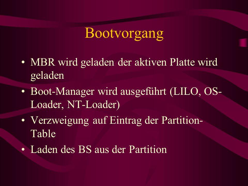 Bootvorgang MBR wird geladen der aktiven Platte wird geladen Boot-Manager wird ausgeführt (LILO, OS- Loader, NT-Loader) Verzweigung auf Eintrag der Partition- Table Laden des BS aus der Partition