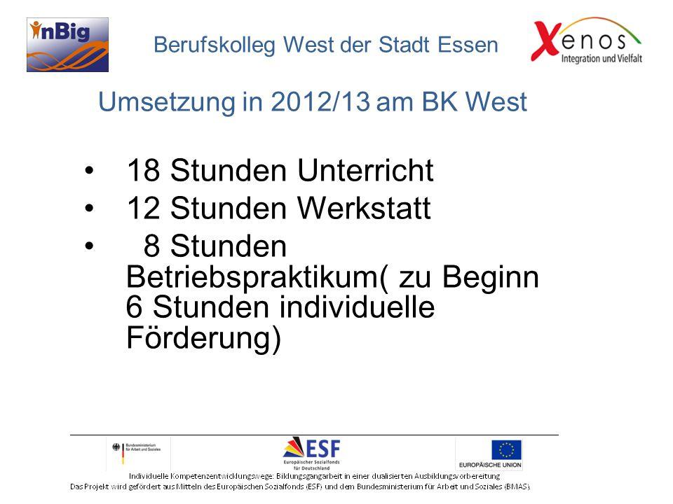 Umsetzung in 2012/13 am BK West 18 Stunden Unterricht 12 Stunden Werkstatt 8 Stunden Betriebspraktikum( zu Beginn 6 Stunden individuelle Förderung) Berufskolleg West der Stadt Essen
