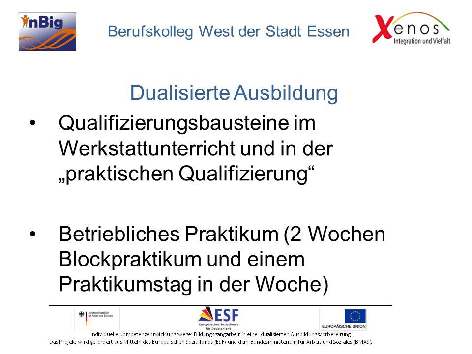 """Dualisierte Ausbildung Qualifizierungsbausteine im Werkstattunterricht und in der """"praktischen Qualifizierung"""" Betriebliches Praktikum (2 Wochen Block"""