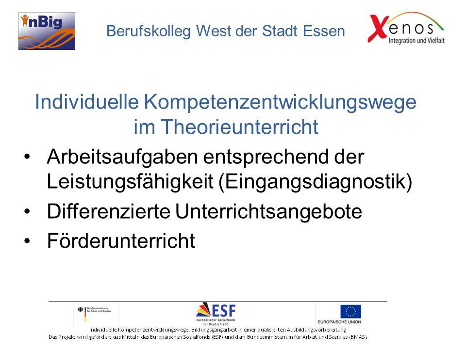 Individuelle Kompetenzentwicklungswege im Theorieunterricht Arbeitsaufgaben entsprechend der Leistungsfähigkeit (Eingangsdiagnostik) Differenzierte Unterrichtsangebote Förderunterricht Berufskolleg West der Stadt Essen
