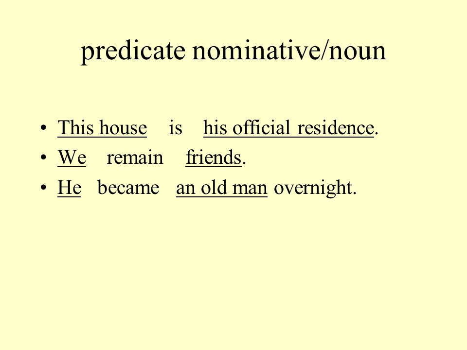predicate nominative/noun This house is his official residence.