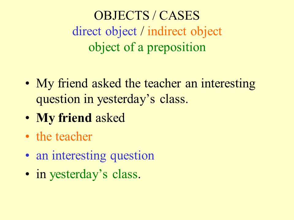 OBJECTS / CASES direct object / indirect object object of a preposition My friend asked the teacher an interesting question in yesterday's class.