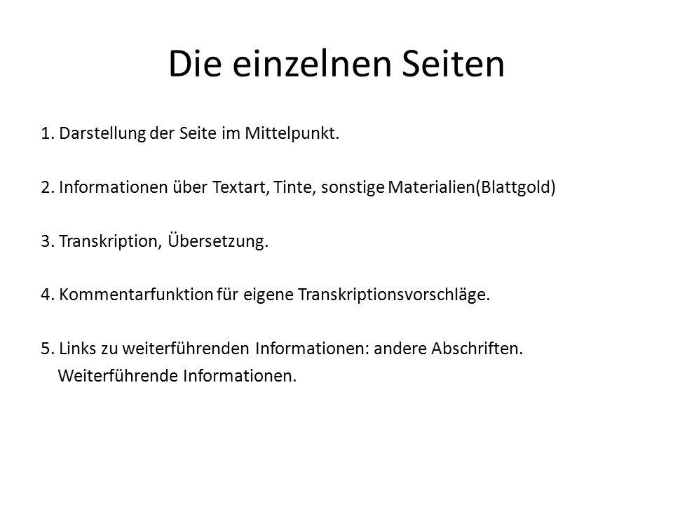Die einzelnen Seiten 1. Darstellung der Seite im Mittelpunkt. 2. Informationen über Textart, Tinte, sonstige Materialien(Blattgold) 3. Transkription,