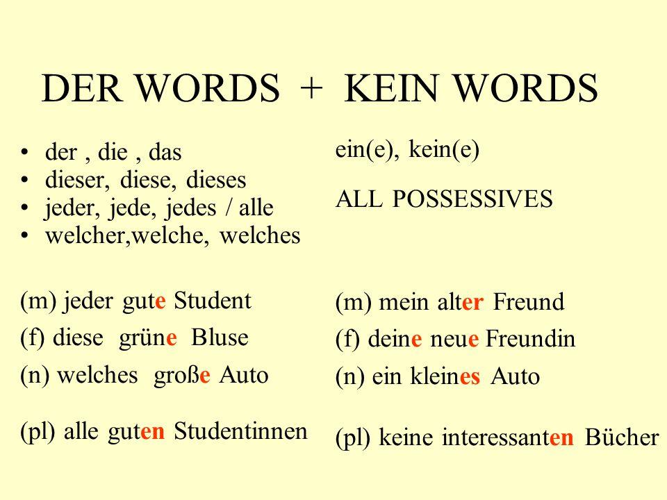 DER WORDS + KEIN WORDS der, die, das dieser, diese, dieses jeder, jede, jedes / alle welcher,welche, welches (m) jeder gute Student (f) diese grüne Bl
