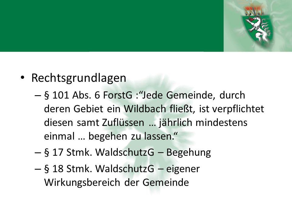 """Rechtsgrundlagen – § 101 Abs. 6 ForstG :""""Jede Gemeinde, durch deren Gebiet ein Wildbach fließt, ist verpflichtet diesen samt Zuflüssen … jährlich mind"""