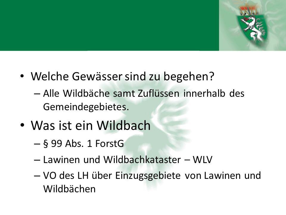 Welche Gewässer sind zu begehen? – Alle Wildbäche samt Zuflüssen innerhalb des Gemeindegebietes. Was ist ein Wildbach – § 99 Abs. 1 ForstG – Lawinen u