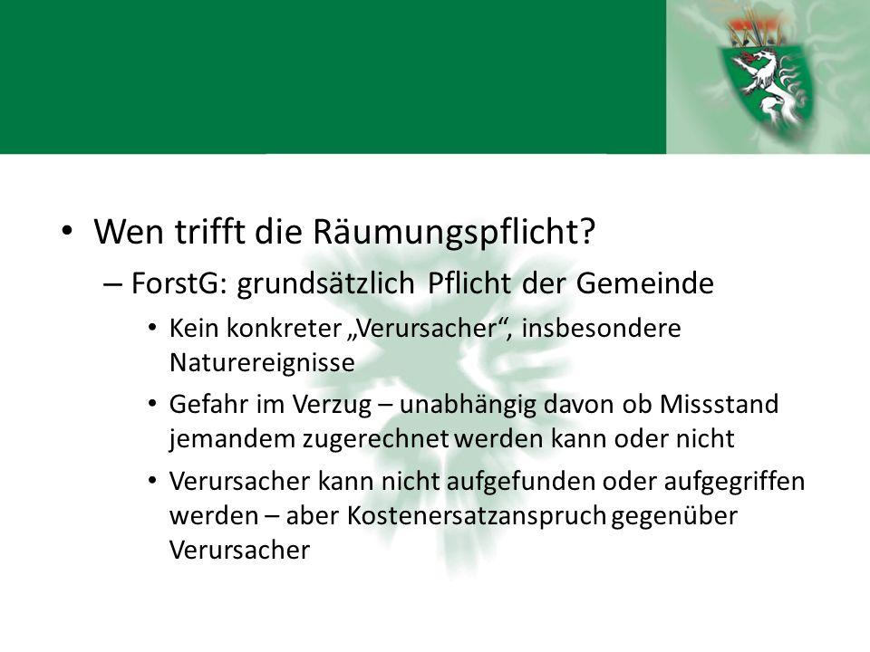 """Wen trifft die Räumungspflicht? – ForstG: grundsätzlich Pflicht der Gemeinde Kein konkreter """"Verursacher"""", insbesondere Naturereignisse Gefahr im Verz"""