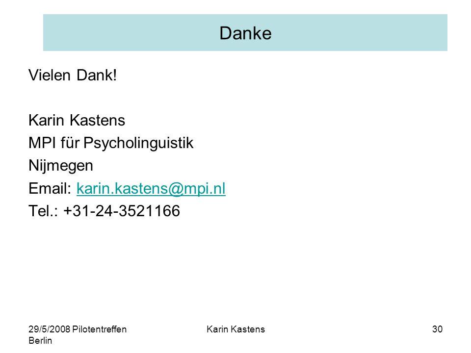 29/5/2008 Pilotentreffen Berlin Karin Kastens30 Danke Vielen Dank.