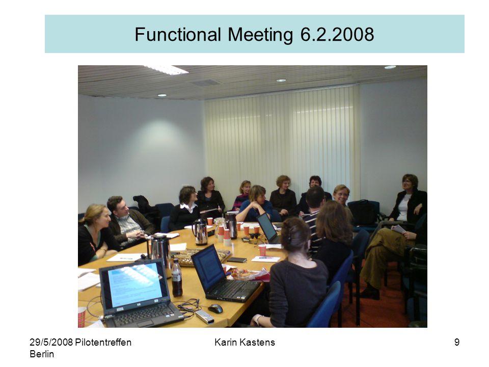 29/5/2008 Pilotentreffen Berlin Karin Kastens10 Meetings 2008 31.1.Vorbereitung PubMan meeting (Library Committee) 6.2.