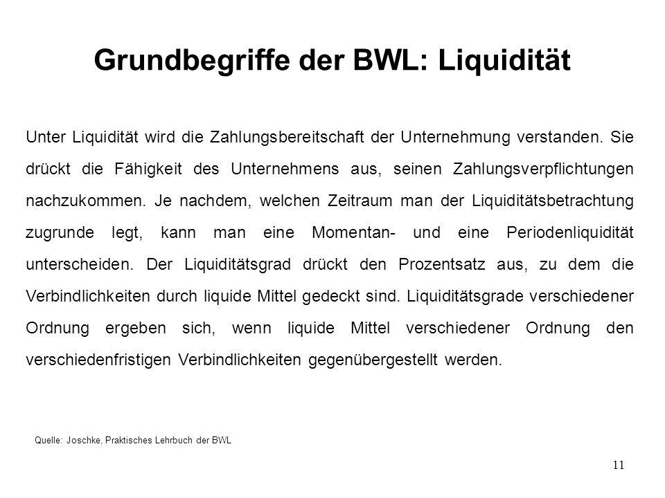11 Grundbegriffe der BWL: Liquidität Quelle: Joschke, Praktisches Lehrbuch der BWL Unter Liquidität wird die Zahlungsbereitschaft der Unternehmung verstanden.