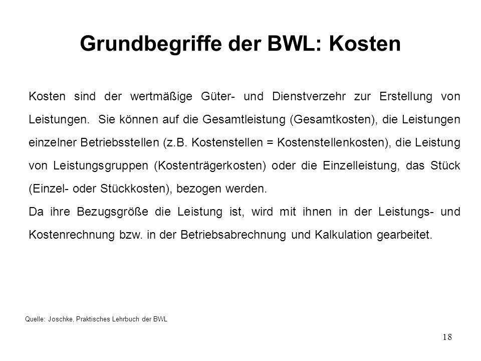 18 Grundbegriffe der BWL: Kosten Quelle: Joschke, Praktisches Lehrbuch der BWL Kosten sind der wertmäßige Güter- und Dienstverzehr zur Erstellung von Leistungen.