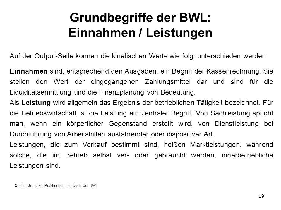 19 Grundbegriffe der BWL: Einnahmen / Leistungen Quelle: Joschke, Praktisches Lehrbuch der BWL Auf der Output-Seite können die kinetischen Werte wie folgt unterschieden werden: Einnahmen sind, entsprechend den Ausgaben, ein Begriff der Kassenrechnung.