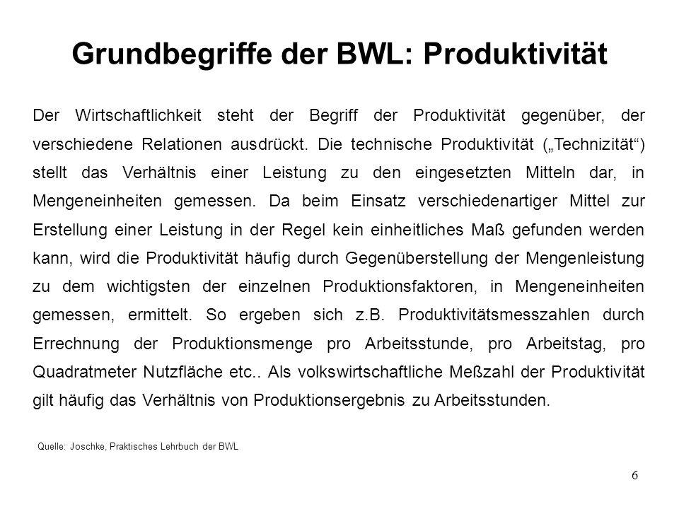 7 Grundbegriffe der BWL: Produktivität Quelle: Joschke, Praktisches Lehrbuch der BWL Das Verhältnis von Ausbringungsmengen zu Einsatzmengen gibt die Produktivität an: P = LMLM P = Produktivität L = (Mengen-) Leistung M = Faktoreinsatzmengen Produktivität als volkswirtschaftliche Meßzahl: P = Produktionsergebnis Arbeitsstunden