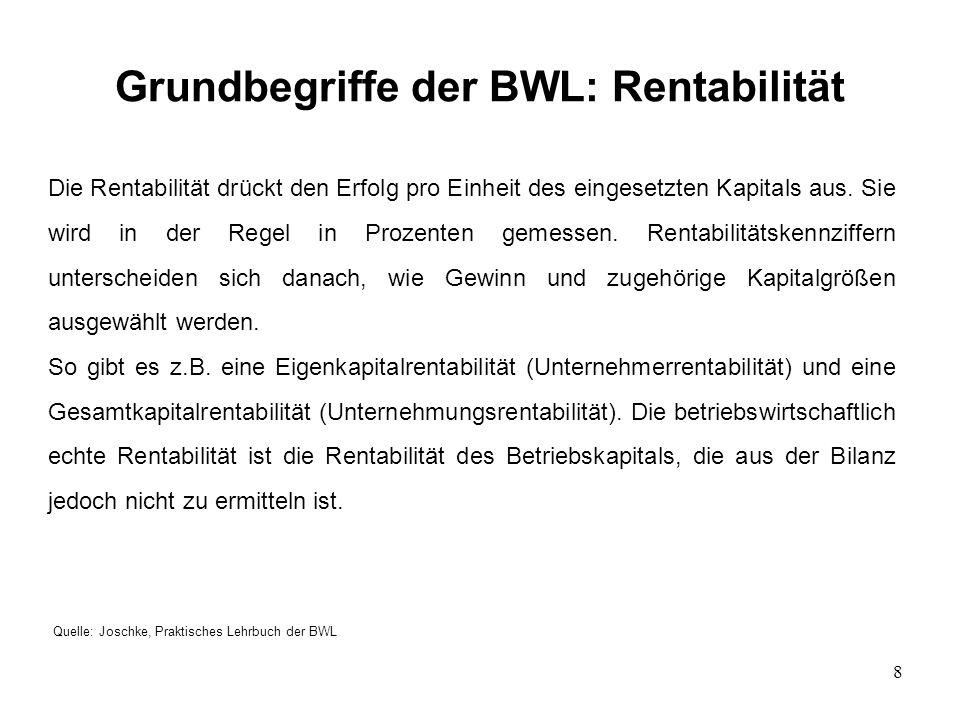 8 Grundbegriffe der BWL: Rentabilität Quelle: Joschke, Praktisches Lehrbuch der BWL Die Rentabilität drückt den Erfolg pro Einheit des eingesetzten Ka