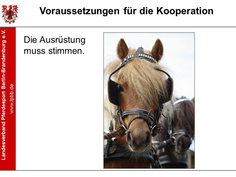 Landesverband Pferdesport Berlin-Brandenburg e.V. www.lpbb.de Voraussetzungen für die Kooperation Die Ausrüstung muss stimmen.