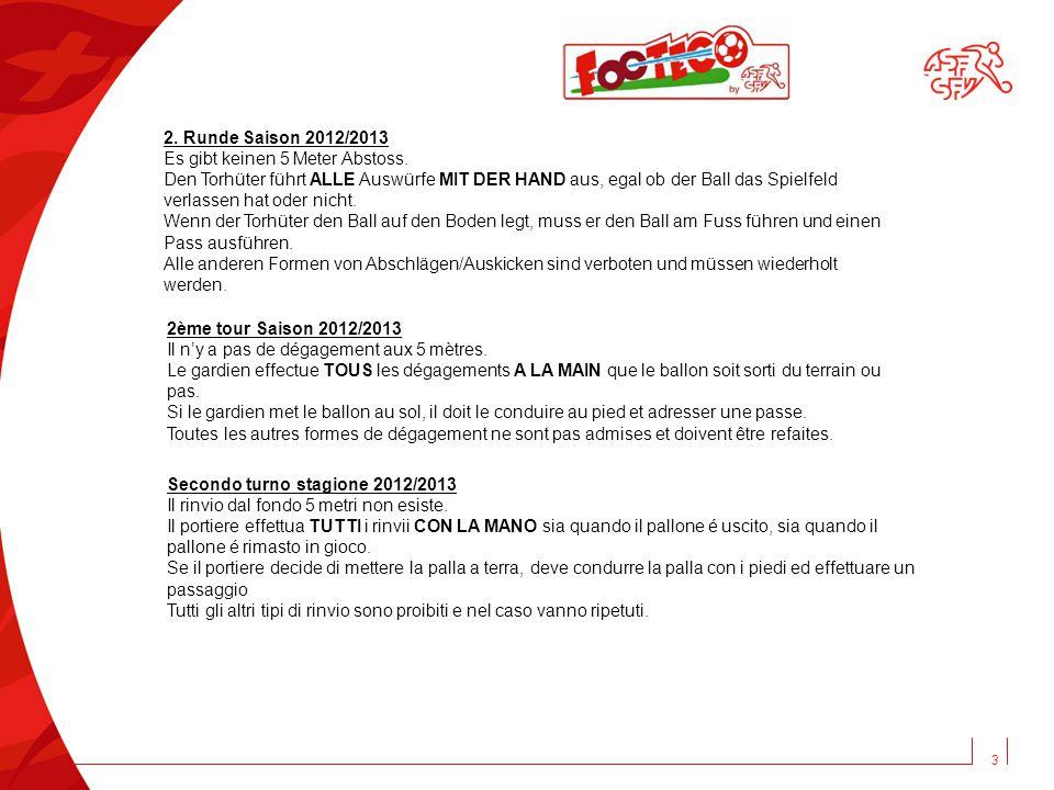3 2. Runde Saison 2012/2013 Es gibt keinen 5 Meter Abstoss.