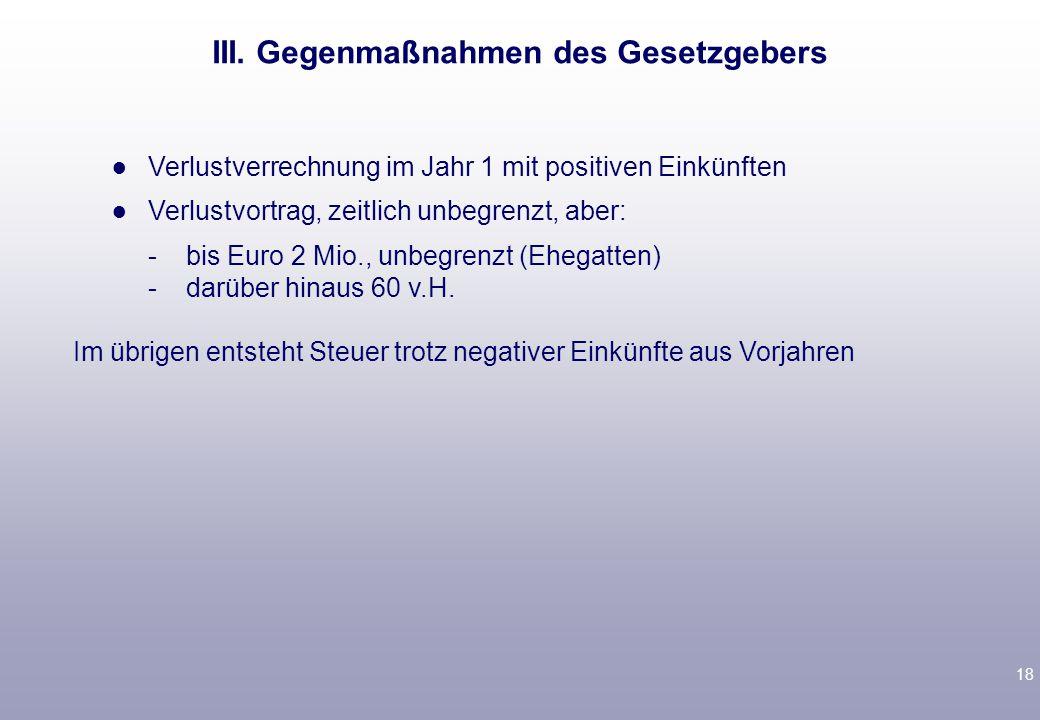 18 ● Verlustverrechnung im Jahr 1 mit positiven Einkünften ● Verlustvortrag, zeitlich unbegrenzt, aber: -bis Euro 2 Mio., unbegrenzt (Ehegatten) -darüber hinaus 60 v.H.