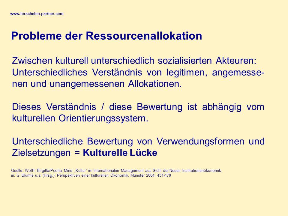 www.forschelen-partner.com Zwischen kulturell unterschiedlich sozialisierten Akteuren: Unterschiedliches Verständnis von legitimen, angemesse- nen und unangemessenen Allokationen.