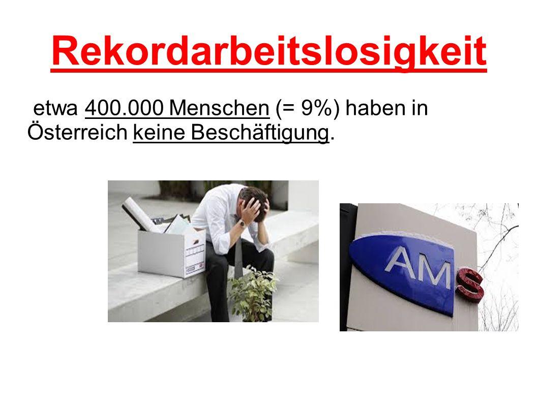 Rekordarbeitslosigkeit etwa 400.000 Menschen (= 9%) haben in Österreich keine Beschäftigung.