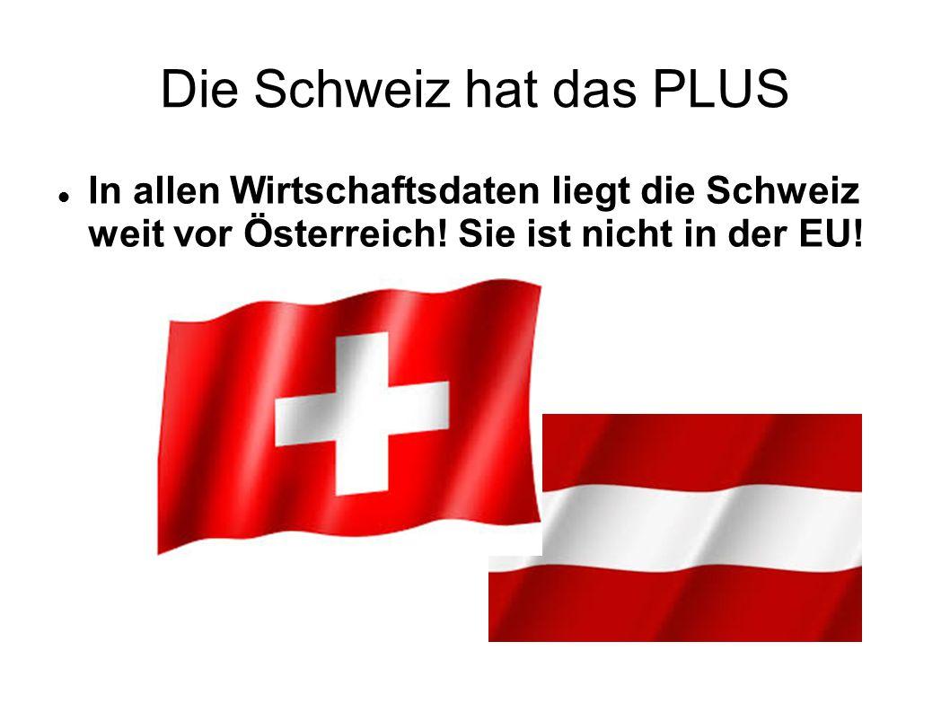 Die Schweiz hat das PLUS In allen Wirtschaftsdaten liegt die Schweiz weit vor Österreich.