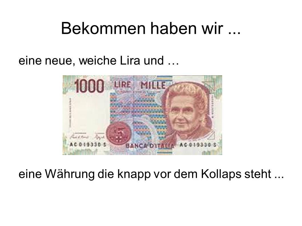 Bekommen haben wir... eine neue, weiche Lira und … eine Währung die knapp vor dem Kollaps steht...