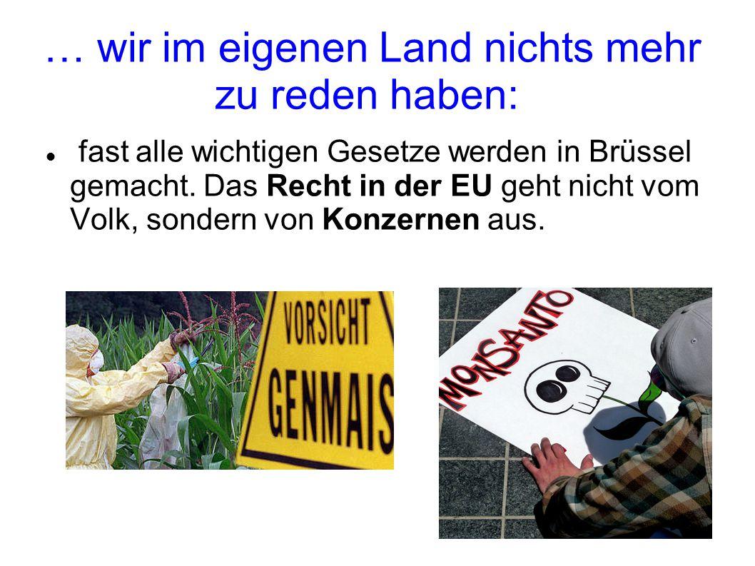 … wir im eigenen Land nichts mehr zu reden haben: fast alle wichtigen Gesetze werden in Brüssel gemacht.