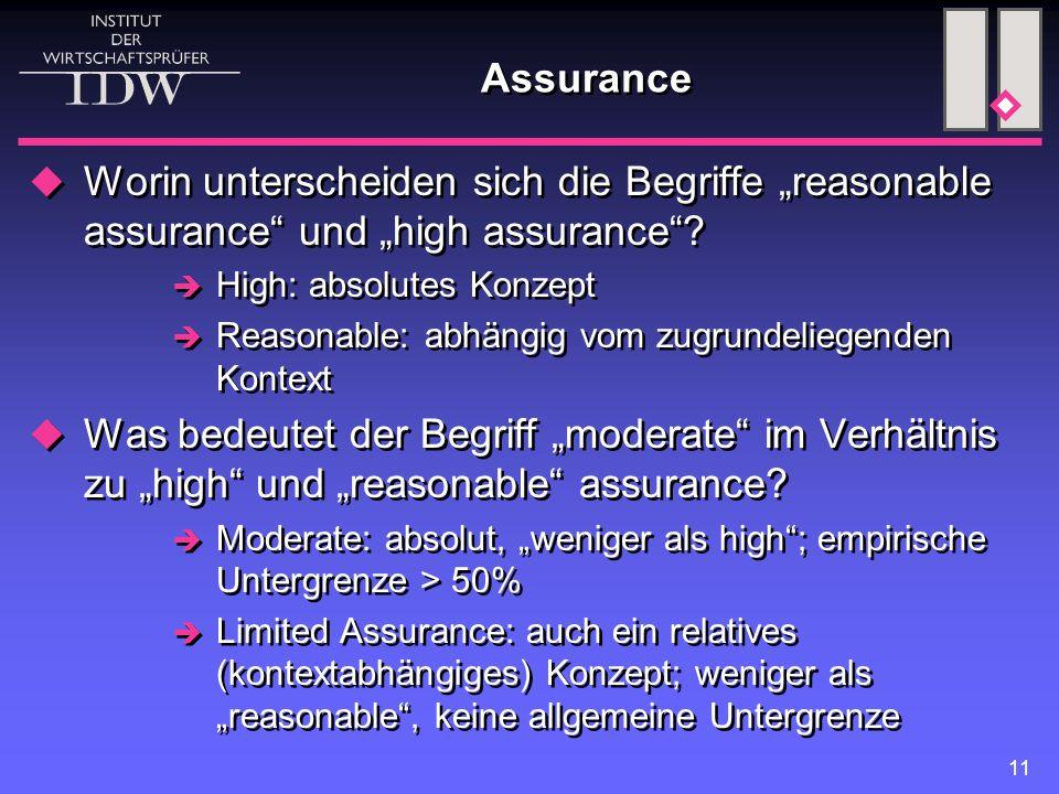 """11 Assurance  Worin unterscheiden sich die Begriffe """"reasonable assurance und """"high assurance ."""