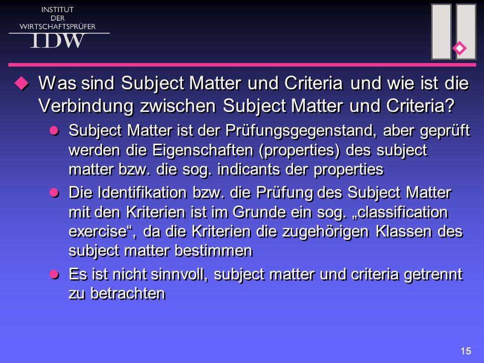 15  Was sind Subject Matter und Criteria und wie ist die Verbindung zwischen Subject Matter und Criteria.